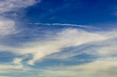 Evening sky. At sunset with Cirrus clouds stock photo