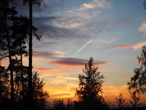 The evening sky. Sunset over the trees. The evening sky covered with light clouds pink in the setting sun. The trail of the airplane is in the sky Stock Photos