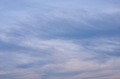 Evening sky with white and gray clouds. Just before sunset Royalty Free Stock Image