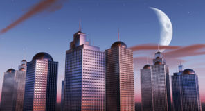 Evening Skyline. 3D rendered scenery Royalty Free Stock Photo