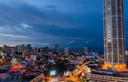 Evening Skyline of Georgetown in Penang, Malaysia Stock Photos