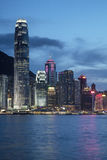 Evening skyline of Hong Kong Island and Victoria Harbour Stock Photography