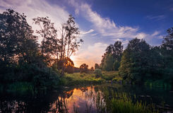 Evening the small Bay. On the river Zelenka Stock Photography