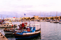 Evening in a small Greek port. Royalty Free Stock Photography