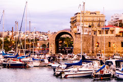 Evening in a small Greek port. Royalty Free Stock Photo