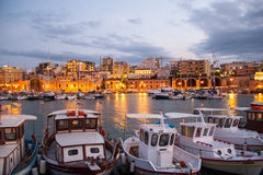 Evening in a small Greek port. Stock Images