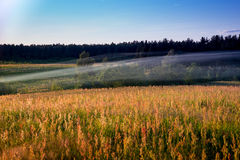 Evening Smoke. Smoke from home hearths drift across a field in rural Russia Stock Photography