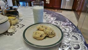 Evening snack. Milk and homemade cookies make a wonderful evening snack Stock Photo