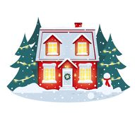 Evening snowfall and snow-covered house, Christmas trees decorated with lights, snow drifts and a snowman in a scarf. vector illustration