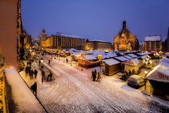 Evening snowy Christkindlesmarkt, Nuremberg Royalty Free Stock Images