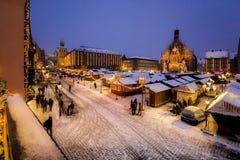 Evening snowy Christkindlesmarkt, Nuremberg Royalty Free Stock Images