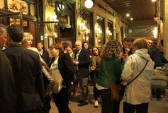 Evening Socializing In Front Of The Cafe Iruna In Pamplona, Spain Stock Image