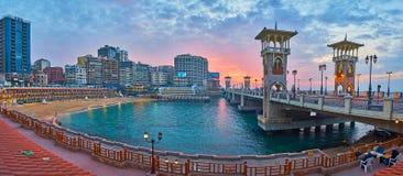 Evening spacer w Stanley sąsiedztwie, Aleksandria, Egipt Obraz Royalty Free