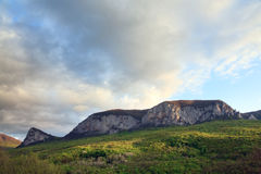 Evening spring mountains landscape (Crimea) Stock Photo