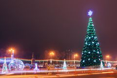The city square in the evening. New Year royalty free stock images