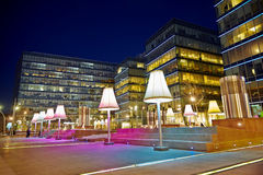 Evening square near to Metropolis shopping center Stock Photos