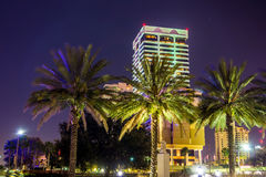 Evening on St John's River and Jacksonville Florida skyline stock photos