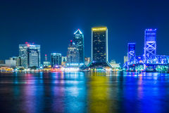 Evening on St John's River and Jacksonville Florida skyline Royalty Free Stock Image