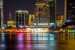 Evening on St John's River and Jacksonville Florida skyline Royalty Free Stock Photo