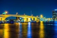 Evening on St John's River and Jacksonville Florida skyline royalty free stock image