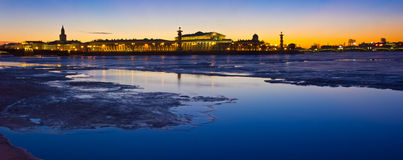 Evening St. Petersburg, view of the Vasilievsky island, Russia Stock Photo