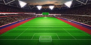 Evening stadium arena soccer field 3D illustration. Evening stadium arena soccer field background 3D illustration