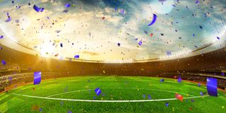 Evening stadium arena soccer field championship win . Yellow ton. Ing. Wide angle. Motion blur stock image