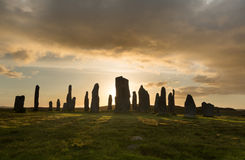 Evening at Stone Circle. Megalithic stone circle of 3000 bc on the Isle of Lewis and Harris, Outer Hebrides, Scotland at sunset Stock Image