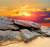 Evening in stone desert Stock Images