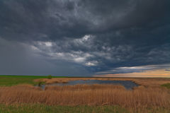 Evening storm over lake in remote wild area. Evening storm and dark clouds over lake in remote eastern European wetland Royalty Free Stock Image