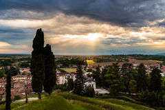 Evening storm over the medieval village Royalty Free Stock Photo