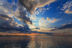 Evening storm over watershed and dramatic sky Royalty Free Stock Photo