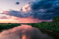 Evening storm over watershed and dramatic sky Royalty Free Stock Images