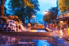 Evening street in Bergen, Norway Stock Photo