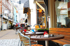 Evening street cafe in Gorinchem. Stock Photos