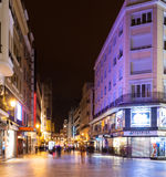 Evening street in Madrid, Spain Stock Images