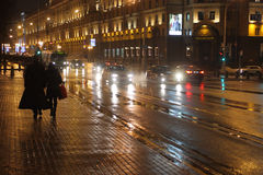 Evening Street in Minsk. Minsk, Liberty Square. Photo taken on: Desember 27th, 2012 stock photos