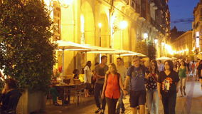 Evening street with people in spanish city.  Logrono stock video