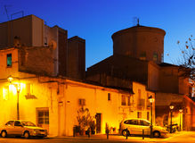 Evening street of Sant Adria de Besos. Catalonia Royalty Free Stock Photos
