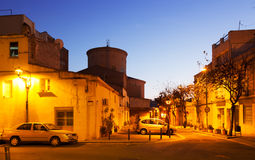 Evening street in Sant Adria de Besos Royalty Free Stock Images