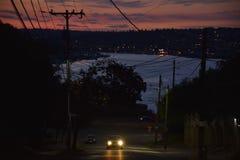 Evening Street Scene with Lake Union, Seattle, Washington Stock Photography