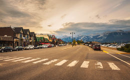 Evening on the streets of Jasper in canadian Rocky Mountains Royalty Free Stock Photo