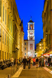 Evening streets in the Old Town of Nice France and new moon Stock Photo