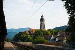 Evening at the suburban railway station. Evening at the suburban railway station somewhere in the mountains of Hungary Royalty Free Stock Photos