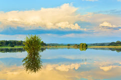 Evening. Summer flood of river Sukhodrev, Kaluga region, Russia Stock Images