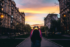 Evening summer street. Decline on the city street Moscow Royalty Free Stock Photos