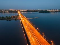 Evening summer Voronezh, Chernavsky bridge, aerial view royalty free stock photography