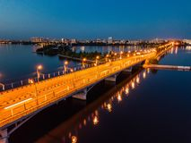 Evening summer Voronezh, Chernavsky bridge, aerial view stock photography