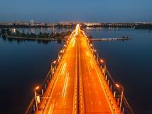 Evening summer Voronezh, Chernavsky bridge, aerial view stock photos