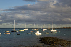 Evening sun on boats in Corralejo harbor harbour Royalty Free Stock Image